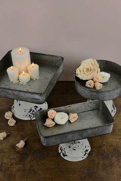 Cheap Wooden Crates & Boxes - Diy - Basteln - Set of 3 Zinc Pedestal Trays The Effective Pictures We Offer You About Thrift store crafts A qual - Home Crafts, Diy Home Decor, Diy Crafts, Wooden Crate Boxes, Thrift Store Crafts, Save On Crafts, Ideias Diy, Dollar Tree Crafts, Diy Décoration