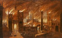 Museum of London: The Great Fire of London, after Jan Griffier the Elder, c. 1675. This painting creates a very dramatic impression of what the fire was like. .. probably represents the fire on the night of Tuesday 4 September. Newgate was a prison so the prisoners were marched out under armed guard to safety in Southwark, but some escaped on the way.