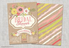 Pink Floral Flowers Kraft Paper Bridal Shower Party Invitation | Custom Frame Birthday Baby Shower Sip & See Party Invite PRINTED /PRINTABLE by fatfatin on Etsy https://www.etsy.com/listing/190933130/pink-floral-flowers-kraft-paper-bridal