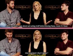Being such good friends that you don't care what your mouth tastes like: | Jennifer Lawrence, Josh Hutcherson, And Liam Hemsworth Prove True Friendship Love Exists