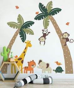 Harriet Bee Errico Palm Trees with Cute Jungle Animals Wall Decal Color: Beige/Orange/Gray - kinderzimmer 2019 - Animals Pictures