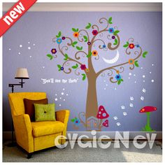 Alice in Wonderland Wall Decals with Cheshire Cat Smile Stickers is one of the most popular Nursery Wall Decals handmade using Top-Quality Matte Vinyl. Quick update and add your personal touch to any space, switch themes in child's room. FREE testing decal is included.