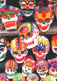 cascade of mexican sugar skulls for dia de los muertos