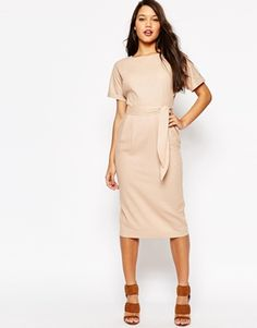 ASOS Belted Wiggle Dress In Linen