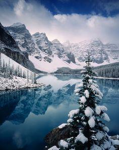 Autumn snowfall on Moraine Lake, Banff National Park Alberta Canada Winter Photography, Landscape Photography, Nature Photography, Travel Photography, All Nature, Amazing Nature, Banff National Park, National Parks, Winter Scenery