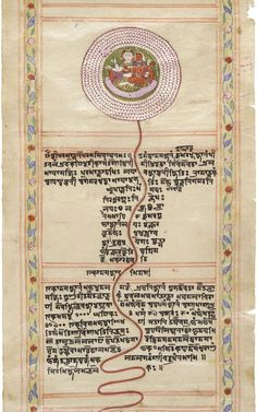 Shiva and Shakti - A Scroll of Meditative Chakras century. Opaque watercolor, gold, and ink on paper. (via Bonhams) Tibetan Script, Tibetan Art, Surya Namaskara, Tantra Art, Shri Yantra, Astrology Books, Lord Shiva Painting, Hindu Mantras, Madhubani Art