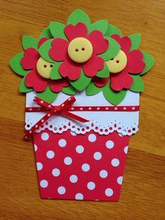 Cartão Dia das Mães de vaso de flores