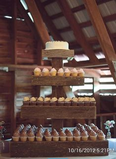 Barn wood cupcake stand by CallaBelleBoutique on Etsy, $300.00