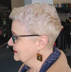 70+ Short Platinum Blonde Pixie