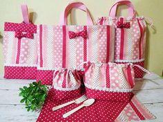 ほんのり春色★ピンク・ボーダー柄レッスンバッグ7点セット画像1