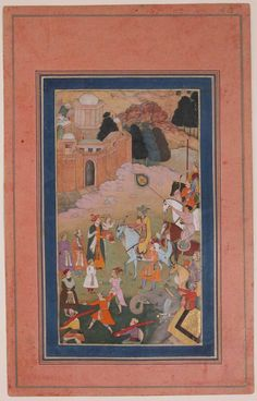 """""""The Emperor Humayun Returning from a Journey Greets his Son"""". Folio from the Davis Album, Ink, opaque watercolor, and gold on paper, Early 17th century"""