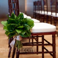 Simple clusters of lemon leaves tied with gold ribbon decorated the chairs along the ceremony aisle.