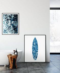 Surf Art, Surfboard Print, Surf Print, Ocean Printable by LilaPrints. Surfing Decor, Surfboard Decor, Blue Nursery Decor, Surfboard Artwork, Kids Room. Perfect artwork for the modernist home or office. Modern, chic, sophisticated #nurseryquotes #bedroomdecor #homedecor #walldecor