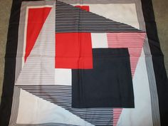 """Vintage Fiorini Geometric Polyester Scarf-Red, Navy and White-30"""" x 30"""" #Fiorini #Scarf"""