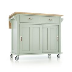 Belmont mint kitchen island cart. | Crate and Barrel