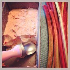 Homemade Strawberry and Rhubarb Ice Cream