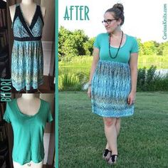 Easy Summer T-Dress Refashion by CarissaKnits (repurpose clothing refashioning tutorials) Repurpose Clothing Refashioning, Diy Clothing, Sewing Clothes, Refashion Dress, Diy Clothes Refashion, Diy Clothes Organiser, Diy Clothes Videos, T Dress, Altering Clothes