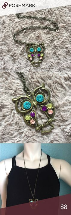 """Owl Necklace Super adorable owl pendant attached to a 28"""" infinity chain, hangs 14"""". Mixed metal material in a dark silver bronze color. Adorned with a mixture of different colored rhinestones!! NWOT, never worn. Jewelry Necklaces"""