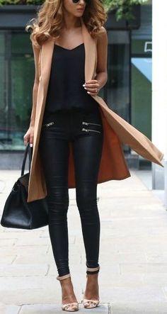 Camel Vest + All Black                                                                             Source
