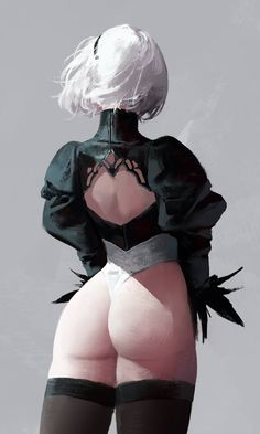 Well drawn art so I decided to pin it, but does really everything about 2B have to be about her butt? Seriously people. See beauty elsewhere, like in her overall design