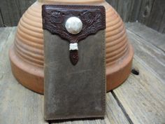 Nocona Brown Leather Western Wallet w Concho by PoisonPuddingFaire, $14.95