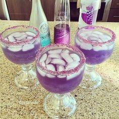 RECIPE ======= 2 oz. (60ml) Viniq 1/2 oz. (15ml) Hpnotiq 1/2 oz. (15ml) Grape Vodka Top with Lemon Lime Soda Via tipsy bartender yum!