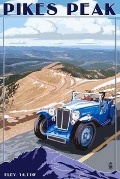 Pikes Peak, Colorado - Auto Road Scene - Lantern Press Poster