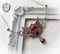 Dark carnelian Gothic winged pendant-Gothic by NoirRomantique