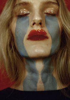 Tear streak dramatic photography makeup