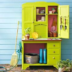 Armoire converted to a gardening center. ~ 17 Ways To Repurpose an Antique Armoire