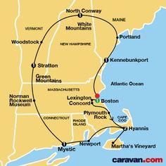 New England Tour Map (Caravan Group Tours/Yellowstone)