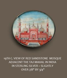 Image copyright by R C Larner ~ Button 19th C Miniature Painting Under Glass of Red Mosque in Silver  http://stores.ebay.com/RC-LARNER-BUTTONS and https://www.etsy.com/shop/rclarner
