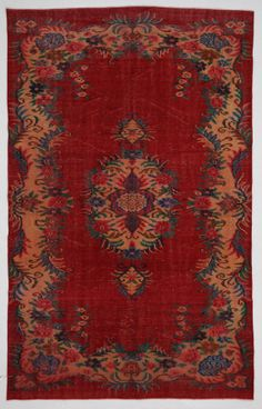 Red Multicolor Medallion Vintage Turkish Rug by bazaarbayar