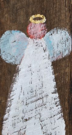 www.paintedpapers.net angel painted on reclaimed wood by ginny elder