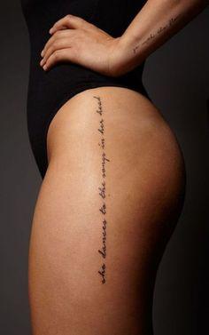 Tattoo leg women text 54 Ideas The post Tattoo leg women text 54 Ideas appeared first on Best Tattoos. Text Tattoo, Hip Tattoo Quotes, Karma Tattoo, Tattoo Quotes For Women, Unalome Tattoo, Hip Tattoos Women, Trendy Tattoos, Cute Tattoos, Women Spine Tattoo