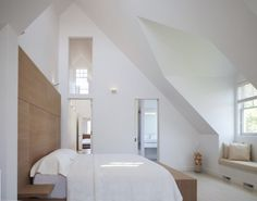 Awesome Residence Ideas for You: Great Nantucket Private Residence Home Design Interior In Bedroom Decorated With Small Space Used Tradition. Raked Ceiling, Attic Bedroom Designs, Bedroom Ideas, Upstairs Bedroom, Master Bedroom, Dormer Windows, Interior Design Boards, Modern Bedroom, Decoration