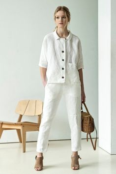 NEW White linen shirt Summer linen shirt Button linen top White Linen Shirt, Linen Blouse, Linen Shirts, Blouse En Lin, Pantalon Large, Espadrilles, Oversized Jacket, Linen Jackets, Light Jacket