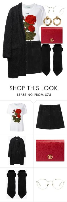 """""""Untitled #6435"""" by laurenmboot ❤ liked on Polyvore featuring Off-White, Monki, Isabel Marant, Gucci, Yves Saint Laurent, Linda Farrow and Chanel"""