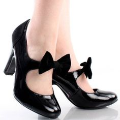 Black Patent Vtg Style Round Toe Bow Women Chunky High Heel Pumps Shoes 5.5