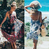 Women Summer Holiday Boho Cocktail Beach Strappy Long Maxi Dress Ladies Sundress