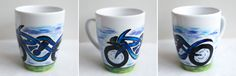 Motorbike; hand-painted mug; 360ml / Kristi Palm Art