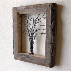 Reclaimed Barn Wood and Barbed Wire Tree Wall Art by Olive Oyl