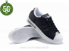 Officiel Adidas Superstar II Blanc Chaussures Noires Hommes (Adidas Pas Chere)