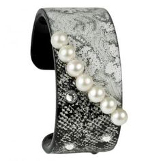 Cuff Narrow - Black and White Pearls by Debbie Brooks