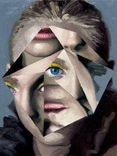 Jeremy Olsons geometrische Gemälde - - A Level Art Sketchbook - Kunst Portfolio, Distortion Art, A Level Art Sketchbook, Art Alevel, Reflection Art, Ap Studio Art, Geometric Painting, Abstract Portrait, Modern Portrait Artists