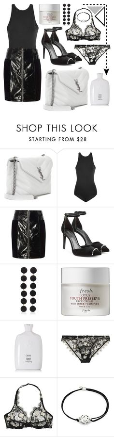"""Black + White"" by cherieaustin on Polyvore featuring Yves Saint Laurent, Versus, Dorothy Perkins, Alexander Wang, Rebecca de Ravenel, Fresh, Oribe, Agent Provocateur and Alex and Ani"