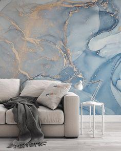 Gold Abstract Wallpaper, Ocean Wallpaper, Painting Wallpaper, Room Wallpaper, Blue Marble Wallpaper, Feature Wallpaper, Wallpaper Desktop, Home Decor Wall Art, Living Room Decor