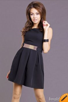 Rozkloszowana sukienka z paskiem... #Sukienki - http://bmsklep.pl/emamoda-sukienka-czarny-6806-4
