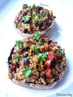 Delicious blog: Žampiony Portobello plněné kuskusem #žampiony #plněné #kuskus #vegan