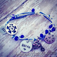 Dirt-bike charm bracelet--great for layering/stacking or alone. on Etsy, $23.00